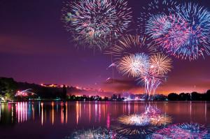 Fête nationale à Dijon, bal des pompiers et feu d'artifice du 14 juillet 2019 au lac Kir