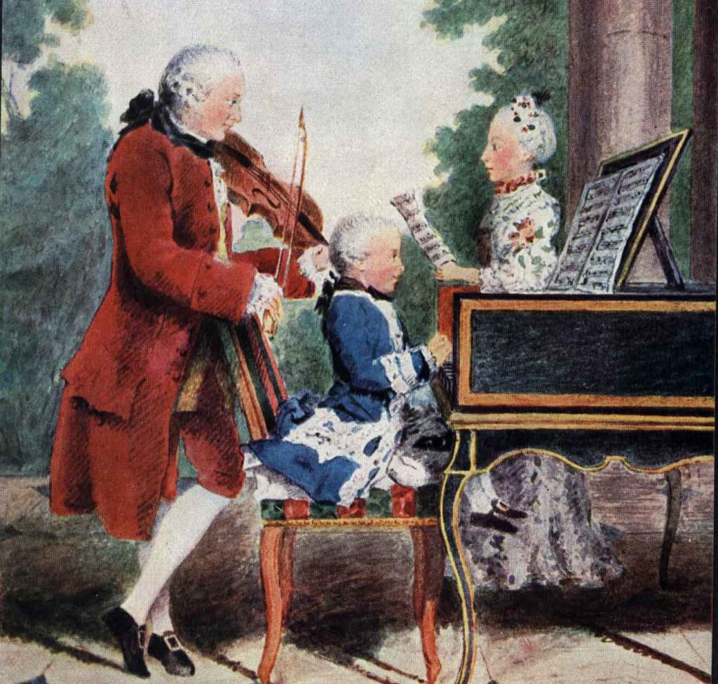 « Petit portrait de famille» (détail) par Louis Carrogis de Carmontelle en 1764, réalisé à Paris lors de la tournée européenne de Nannerl, Wolfgang et Leopold Mozart en Allemagne, Belgique, France, Angleterre, Pays-Bas, entre 1763 et 1766.