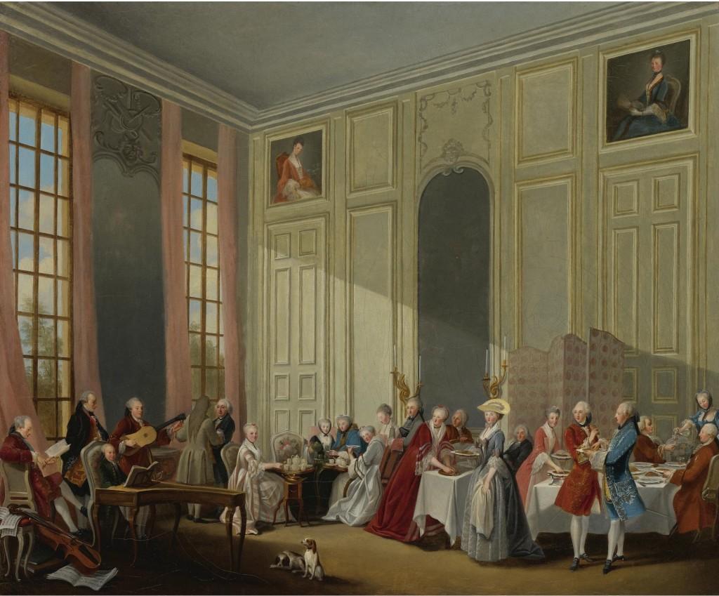 «Le Thé à l'anglaise dans le salon des quatre glaces au Temple» avec toute la cour du prince de Conti, écoutant le jeune Mozart. Par Olivier Michel-Barthélémy en 1766.À Dijon aussi il y avait du beau monde.