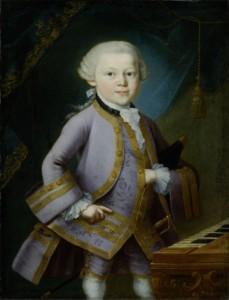 «Mozart enfant» par Pietro Antonio Lorenzoni en 1762/63 à la veille de sa grande tournée européenne. Mozart a six ans.