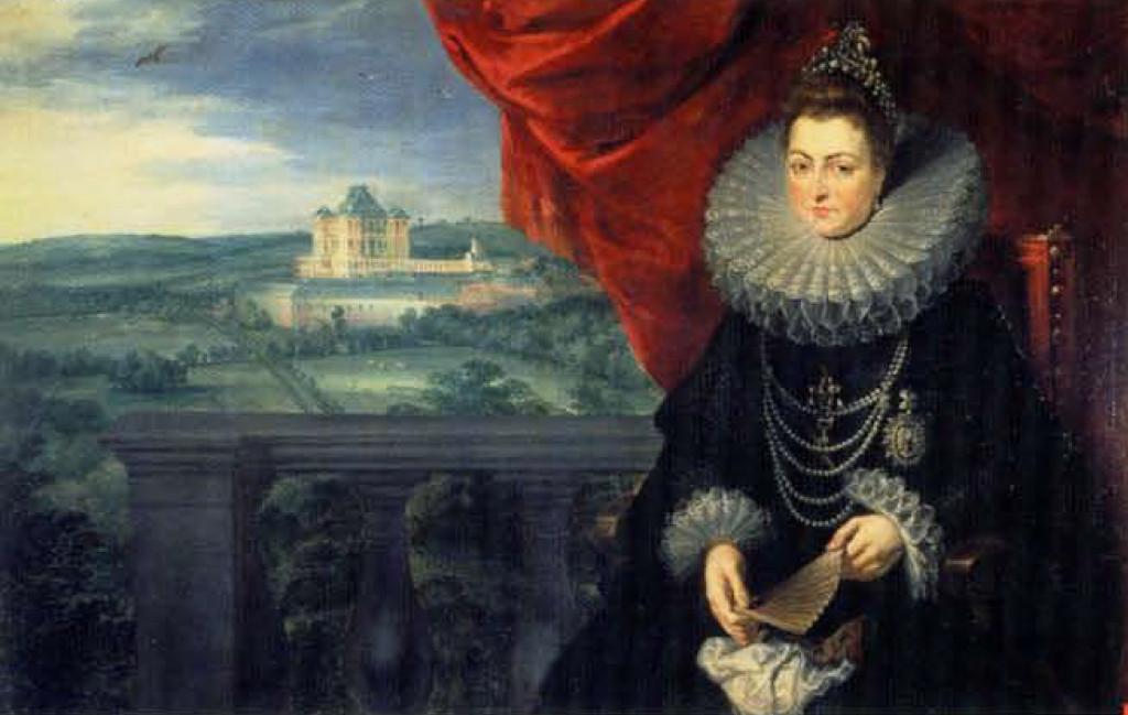 Portrait de l'archiduchesse Isabelle avec le château de Mariemont.