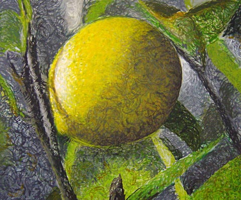 Pointillisme polychrome à la banane