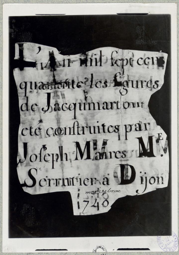 Document trouvé dans la tête du Jacquemart lors de sa restauration en 1938 © Bibliothèque municipale de Dijon - Copie à usage personnel uniquement