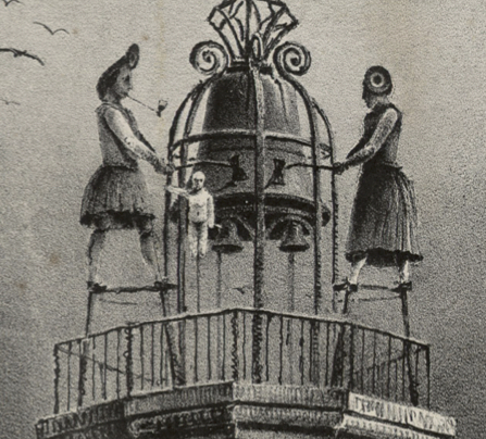 """La famille """"Jacmart"""" sur la tour de l'église Notre-Dame à Dijon © Bibliothèque municipale de Dijon - Copie à usage personnel uniquement"""