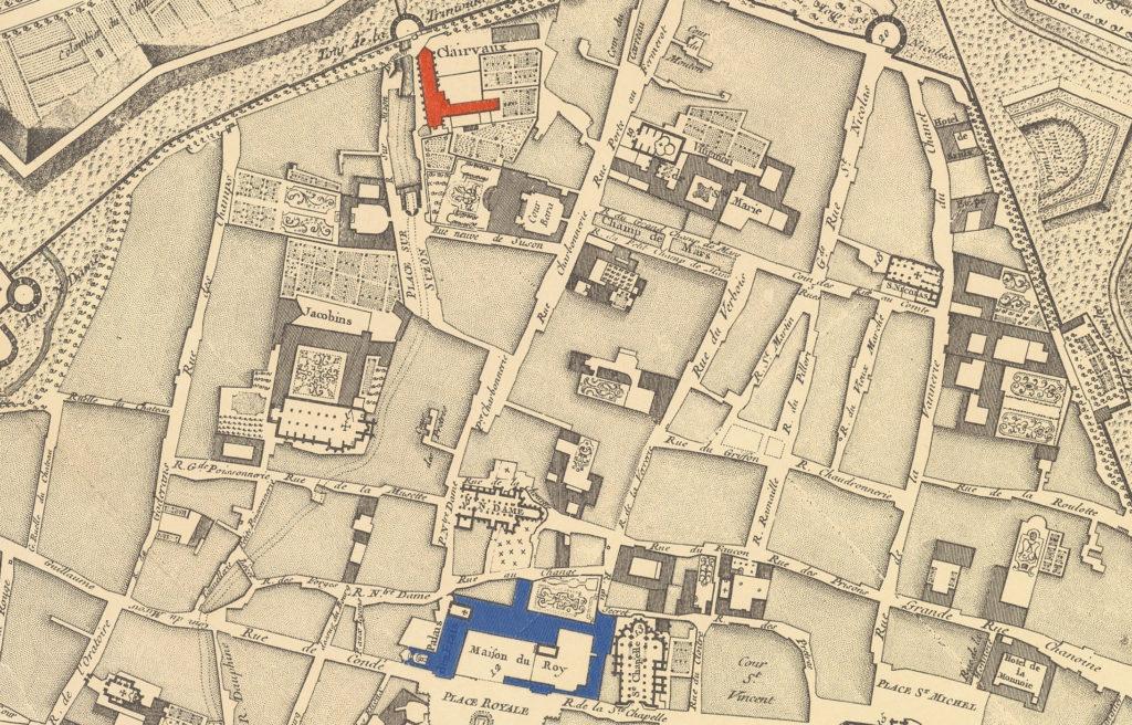 Sur ce plan de 1759, on voit le cellier de Clairvaux (en rouge), qui aurait dû exploser, soufflant le logis du roi (l'actuel palais des Ducs, en bleu). © Bibliothèque municipale de Dijon